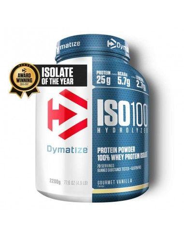 Iso 100 hydrolyzed est une protéine de la marque dymatize. elle contient de l'isolat de whey et de l'hydroisolat des di peptides