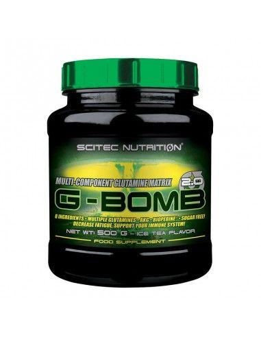 g-bomb est une glutamine intra training enrichie en arginine, elle favorise la récupération et la congestion de la marque scitec